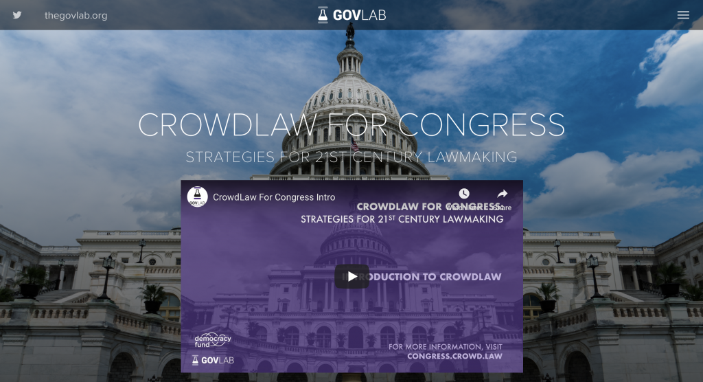 Announcing the launch of the GovLab's CrowdLaw for Congress project